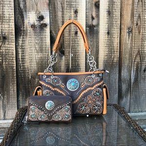 Western Montana west embroidery handbag&wallet set